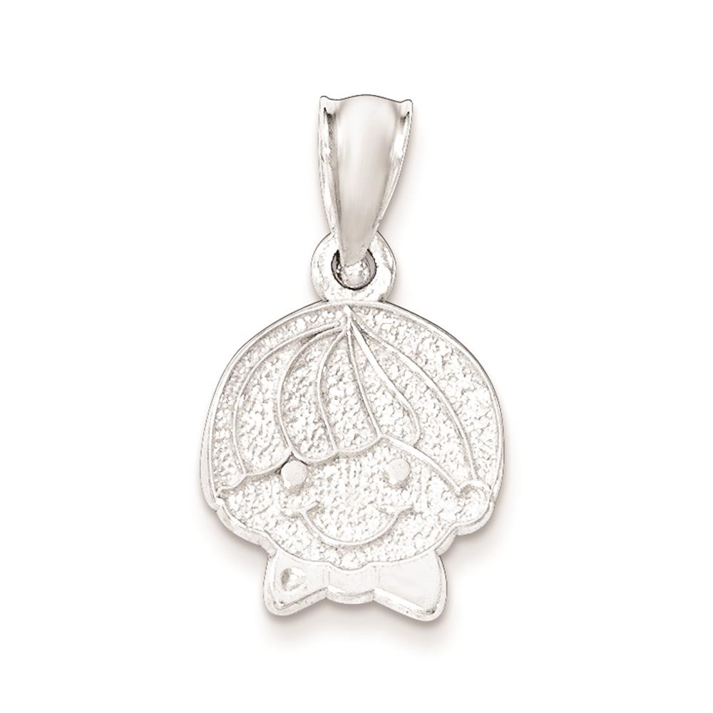925 Sterling Silver Polished Textured Boy Head Flat-back Charm Pendant