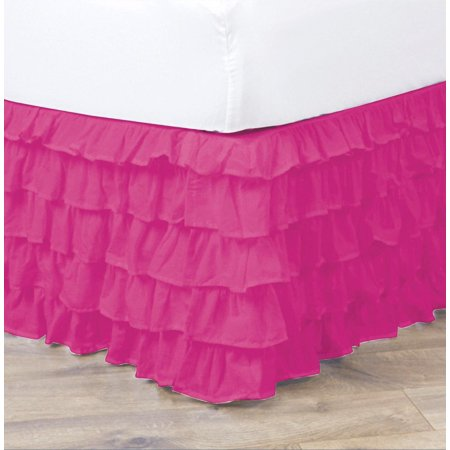 empire home pleated ruffled bed skirt solid dust ruffle all sizes queen hot pink. Black Bedroom Furniture Sets. Home Design Ideas