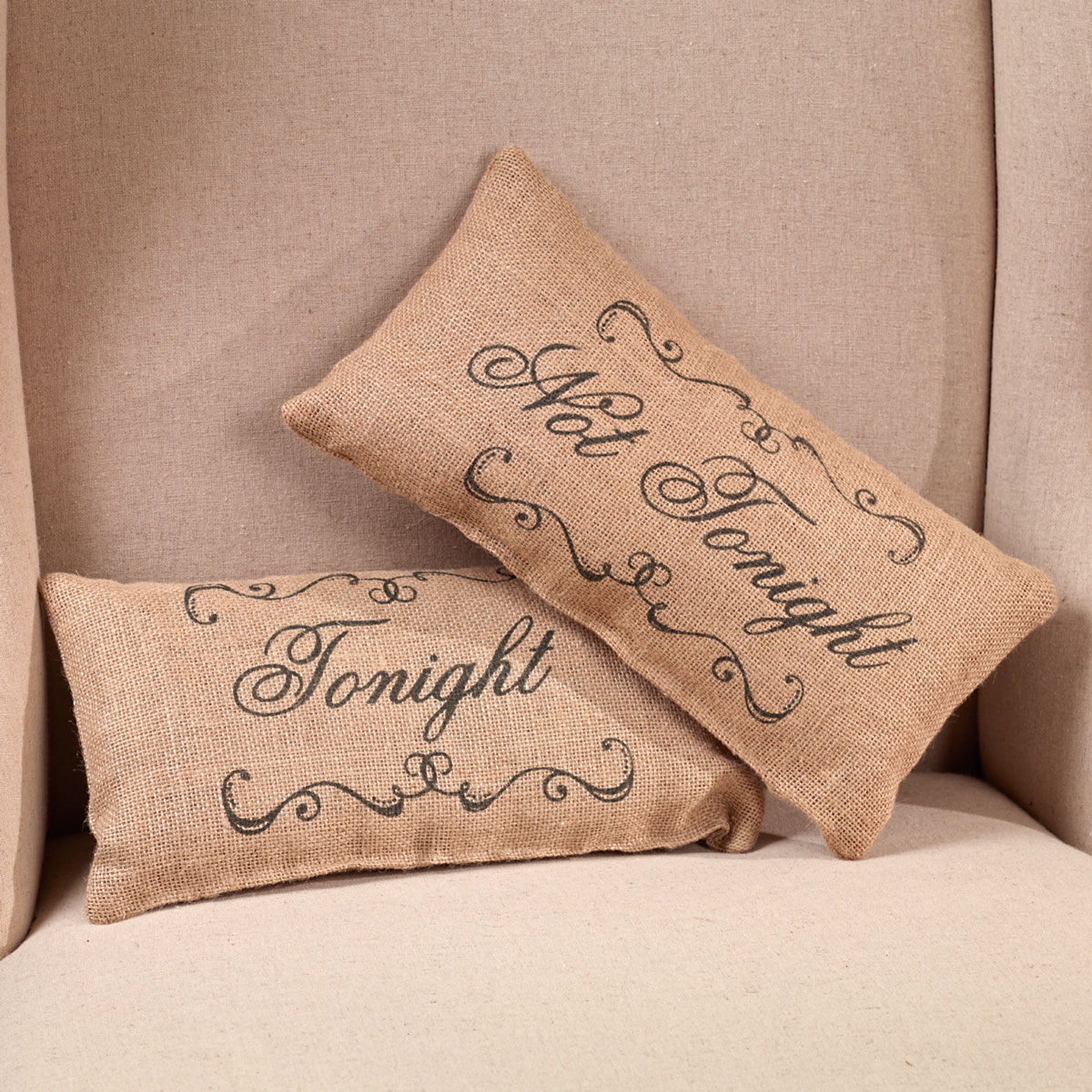 Small Burlap Tonight Country Pillow