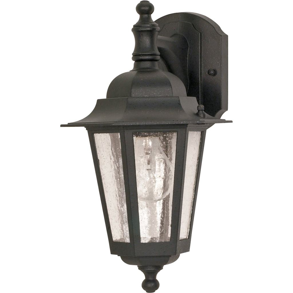 "Nuvo Lighting 60990 - 1 Light (Medium Screw Base) 13"" Cornerstone Textured Black Finish with Clear Seeded Glass Wall Lantern Light Fixture (60-990)"