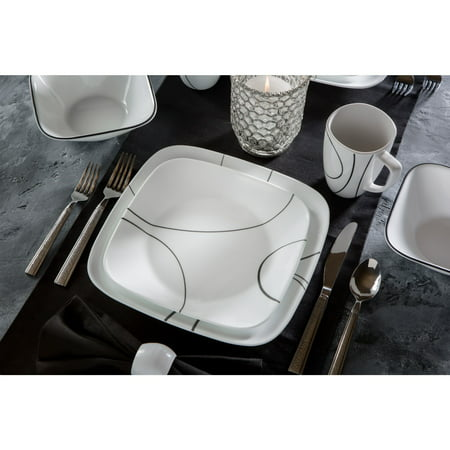 Corelle Simple Lines Square Dinnerware Set, 16 Piece ()