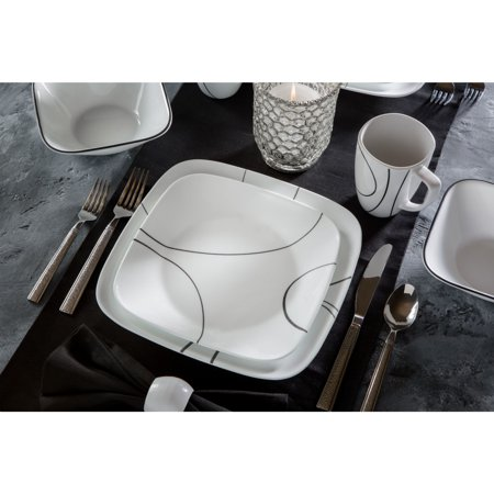 China Platinum Dinnerware Set (Corelle Simple Lines Square Dinnerware Set, 16 Piece)