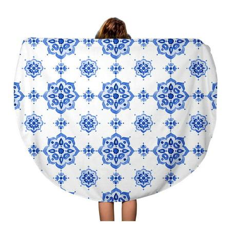LADDKA 60 inch Round Beach Towel Blanket Delft Blue Watercolor Vintage Filigree Cobalt Tableware Dutch Motives Travel Circle Circular Towels Mat Tapestry Beach - Round Delft