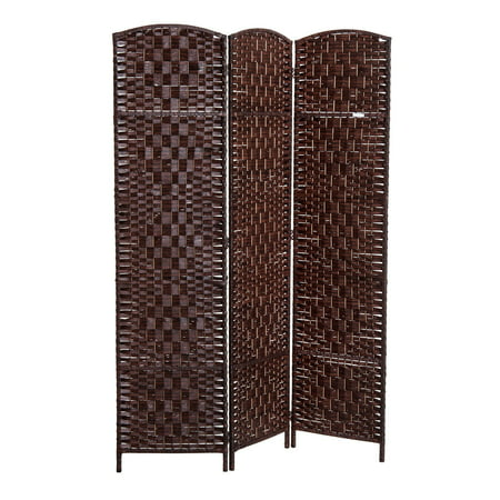 6' Tall Wicker Weave Three Panel Room Divider Privacy Screen - Chestnut Brown ()