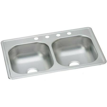 Elkay Dayton Stainless Steel 8'' L x 33'' W Double Basin Drop-In Kitchen Sink 8' Double Equal Sink