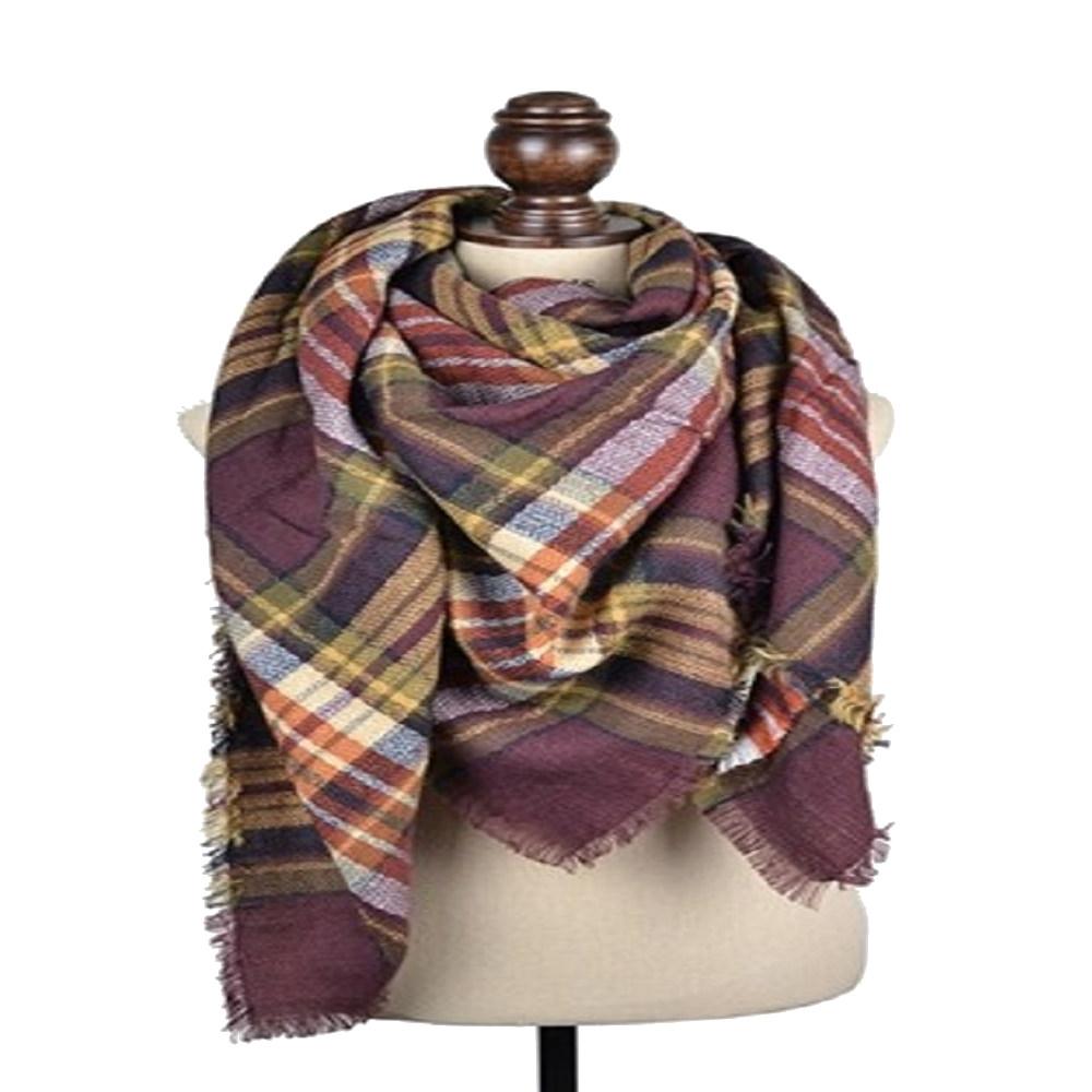 Stylish Winter Warm Large Plaid Scarf Blanket Shawl Wrap For Women
