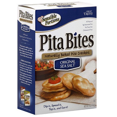 Sensible Portions Sea Salt Pita Bite Crackers, 5 oz (Pack of 12)