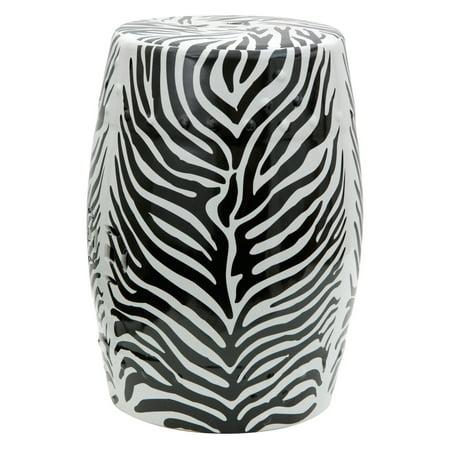 - Oriental Furniture Zebra Leaf Porcelain 18 in. Garden Stool