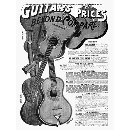 Sears Ad Guitars 1902 Nreproduction Of 1902 Sears Roebuck & Co Catalog Advertisement For Guitars Poster Print by Granger Collection