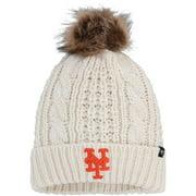 New York Mets '47 Women's Meeko Cuffed Knit Hat with Pom - Cream - OSFA