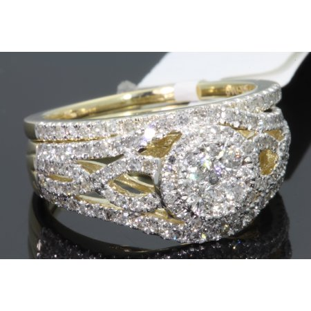 10K YELLOW GOLD 1.24 CARAT WOMENS DIAMOND ENGAGEMENT RING WEDDING BAND BRIDAL SET (Gold Wedding Ring Sets)