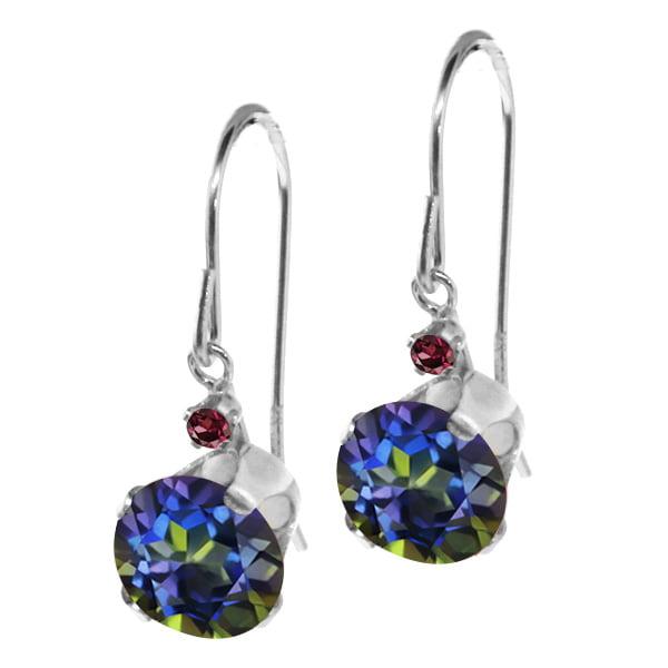 1.65 Ct Round Blue Mystic Topaz Red Rhodolite Garnet 14K White Gold Earrings