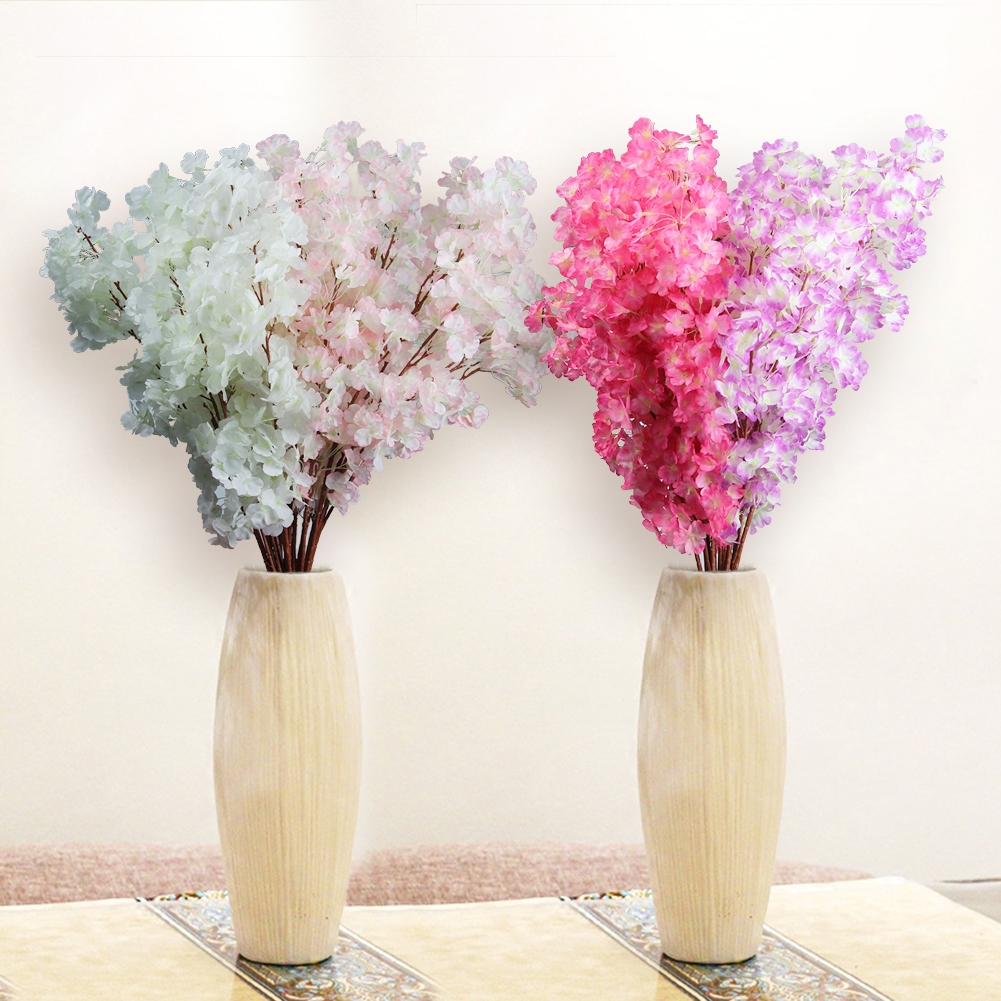 HiCoup 1Pc 3 Branches Artificial Cherry Blossom Flower Bouquet Wedding Home Decoration