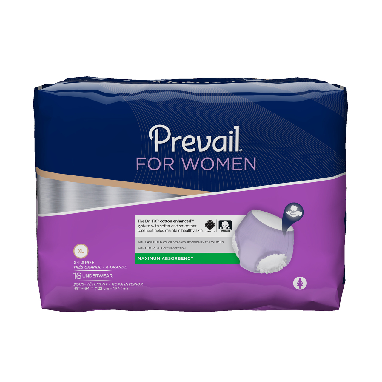 Prevail Underwear for Women,  X-Large (48-64 Inch Waist) - Pack of 16