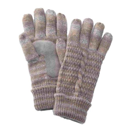 Isotoner Womens Gray Marled Cuffed Cable Knit Gloves