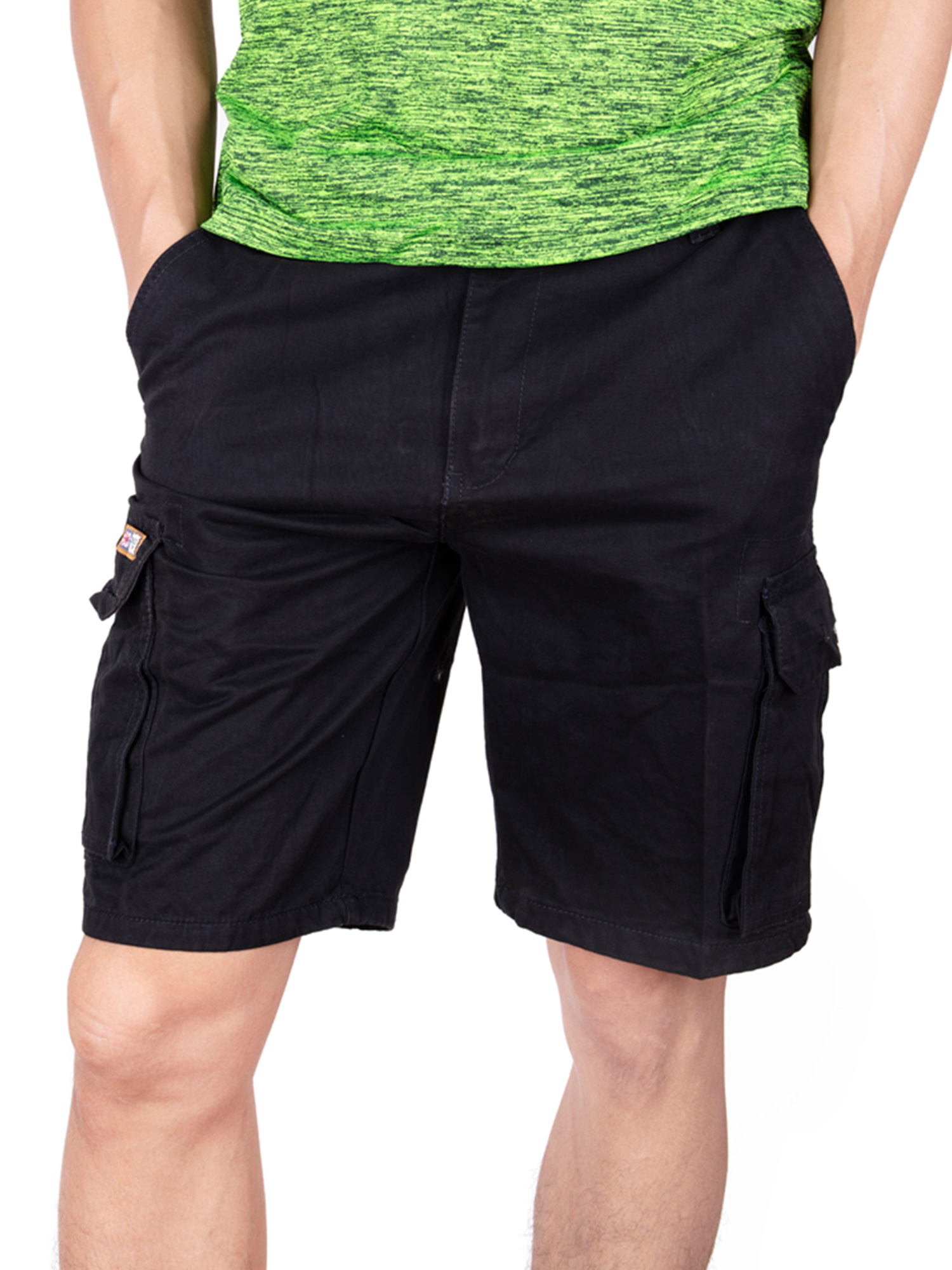SAYFUT  Mens Cotton Twil Chino Shorts Relaxed Fit Outdoor Casual Cargo Shorts Black Size XS-4XL