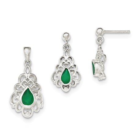 (Sterling Silver Polished Green Agate Pendant and Post Earrings Set)