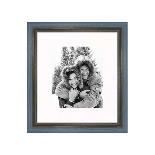 Frames By Mail 20'' x 24'' Rustic Wire Brush Frame in Grey/Blue