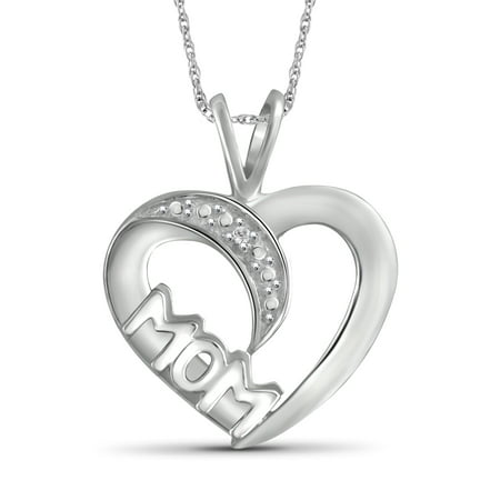 White Diamond Accent Sterling Silver Mother Heart Pendant