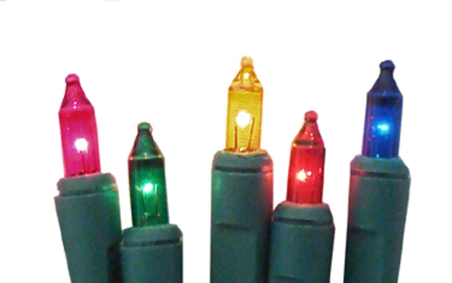 Set of 20 Battery Operated Multi-Color Mini Christmas Lights - Green Wire