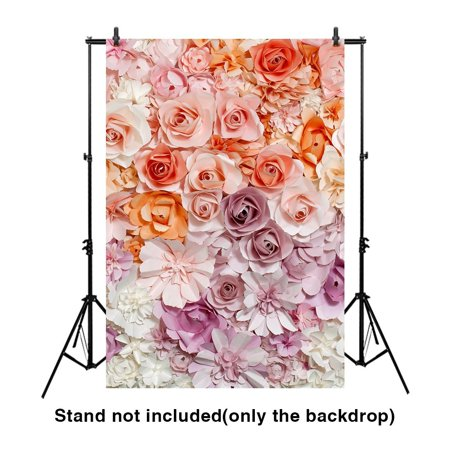 GreenDecor Polyster 5x7ft sweet Three-dimensional paper flowers profession photography backdrop for wedding and party](Photography Backdrop Paper)