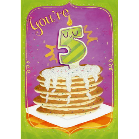Designer Greetings Pancakes with Sparkling Icing Age 5 / 5th Birthday Card for (5th Birthday Card)