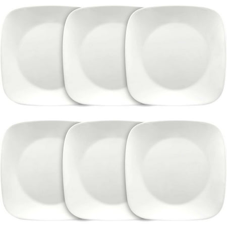 "Corelle Square Pure White 10.5"" Dinner Plates, Set of 6"