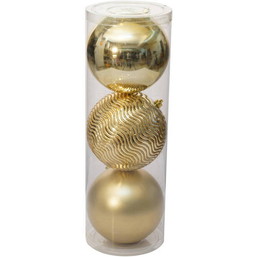 Holiday Time Christmas Ornaments Traditional 150mm Extra Large Shatterproof, Set of 3