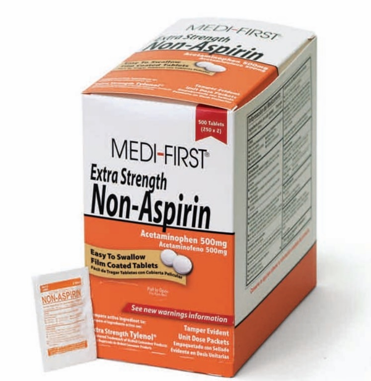 Medi-First Non-Asprin Extra Strength Pain Relief Tablets, Acetaminophen 500mg (125 x 2s)-Box of 250
