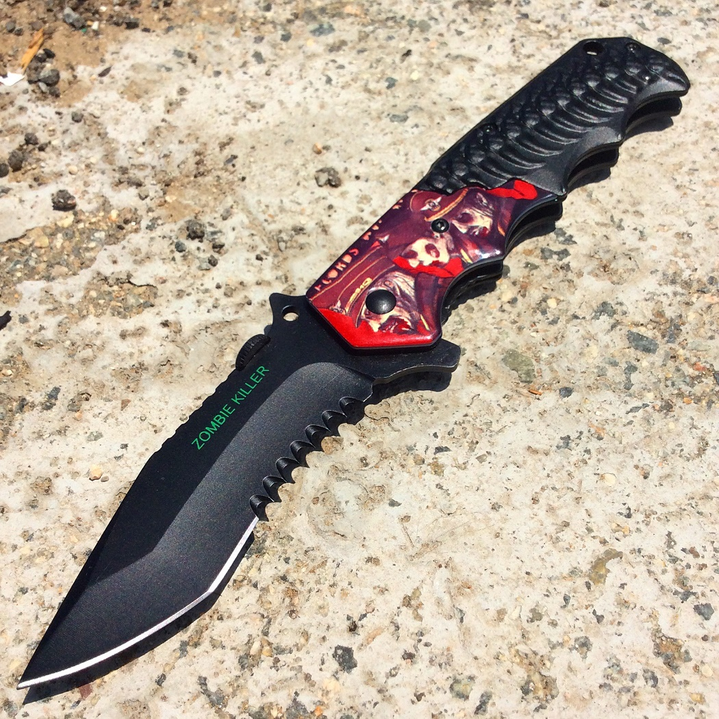 """8"""" Black Spring Assisted Zombie Killer Stainless Steel Knife Metal Handle W/ Thu"""