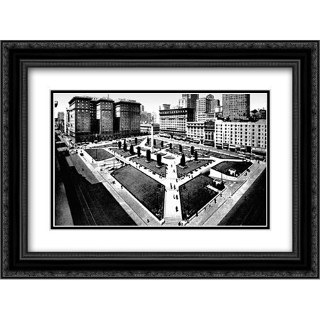 Union Square, San Francisco, CA 2x Matted 24x18 Black Ornate Framed Art Print by Vintage San Francisco