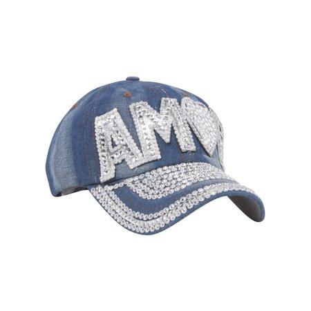 Top Headwear Studded Amor Denim Baseball Cap - image 1 of 2