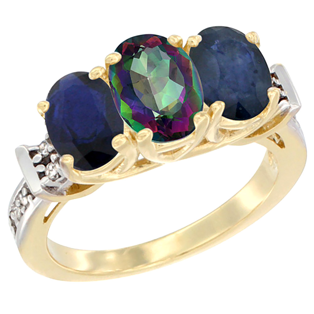 14K Yellow Gold Natural Mystic Topaz & Blue Sapphire Sides Ring 3-Stone Oval Diamond Accent, sizes 5 10 by WorldJewels