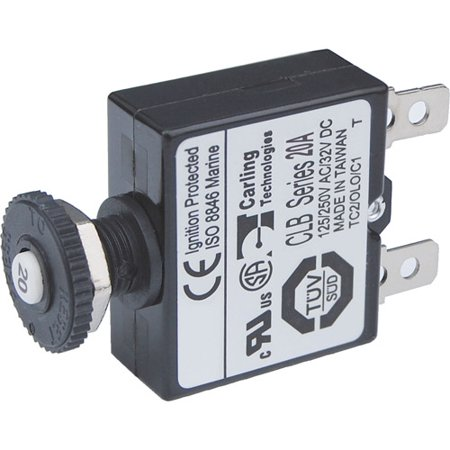 Blue Sea Systems Push Button Reset Only Quick Connect Circuit Breaker, 20 Amp ()