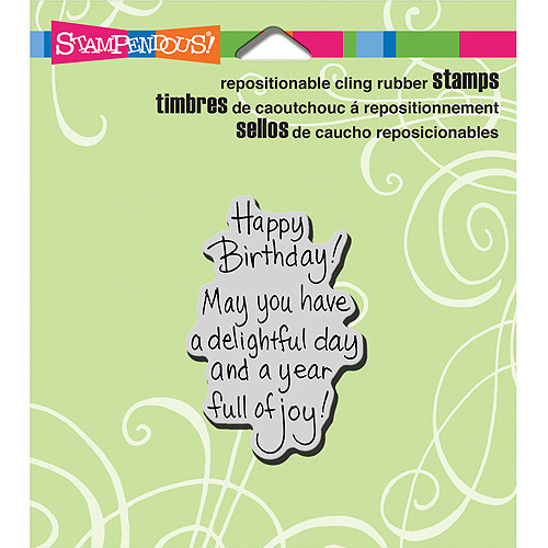 "Stampendous Cling Rubber Stamp, 3.5"" x 4"" Sheet, Delightful Birthday"