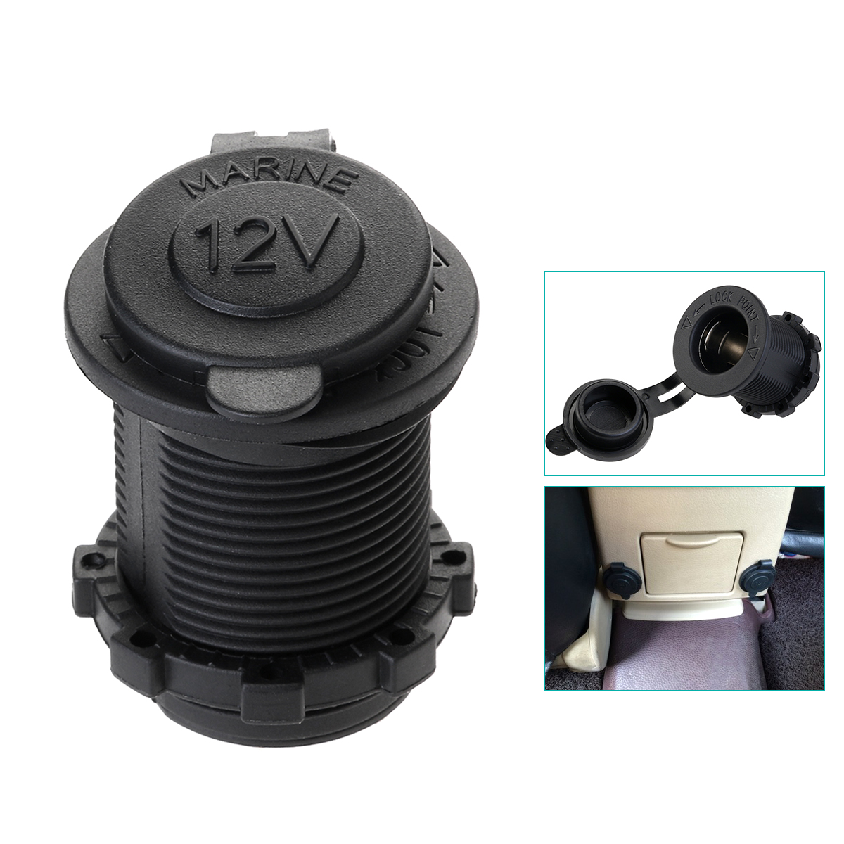 FOXNOVO Portable Universal 12V-24V Waterproof Marine Boat Car Motorbike Cigarette Lighter Power Supply Socket Outlet Adapter Plug (Black)