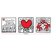 """KEITH HARING Untitled (1987) 13"""" x 37.5"""" Poster 1995 Pop Art Red, White"""