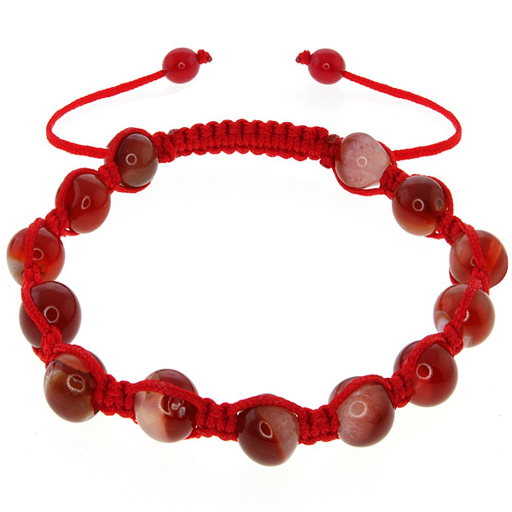 Beautiful 8mm Round Orange Agate Fancy Beads on Red String Adjustable Bracelet