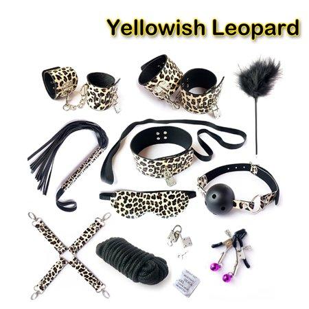 Leather Plush Furry BDSM Fetish Bondage Kit Bed Restraint Set Couple Restraint Love Handcuffs Bracelets Blindfold Collar Leash Choker 10pcs Set Yellowish Leopard By Amoldar
