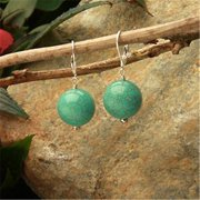 Betty Rocks BERSTQ10116001LB Euro Lever Back 16mm Round Stabilized Turquoise Earrings