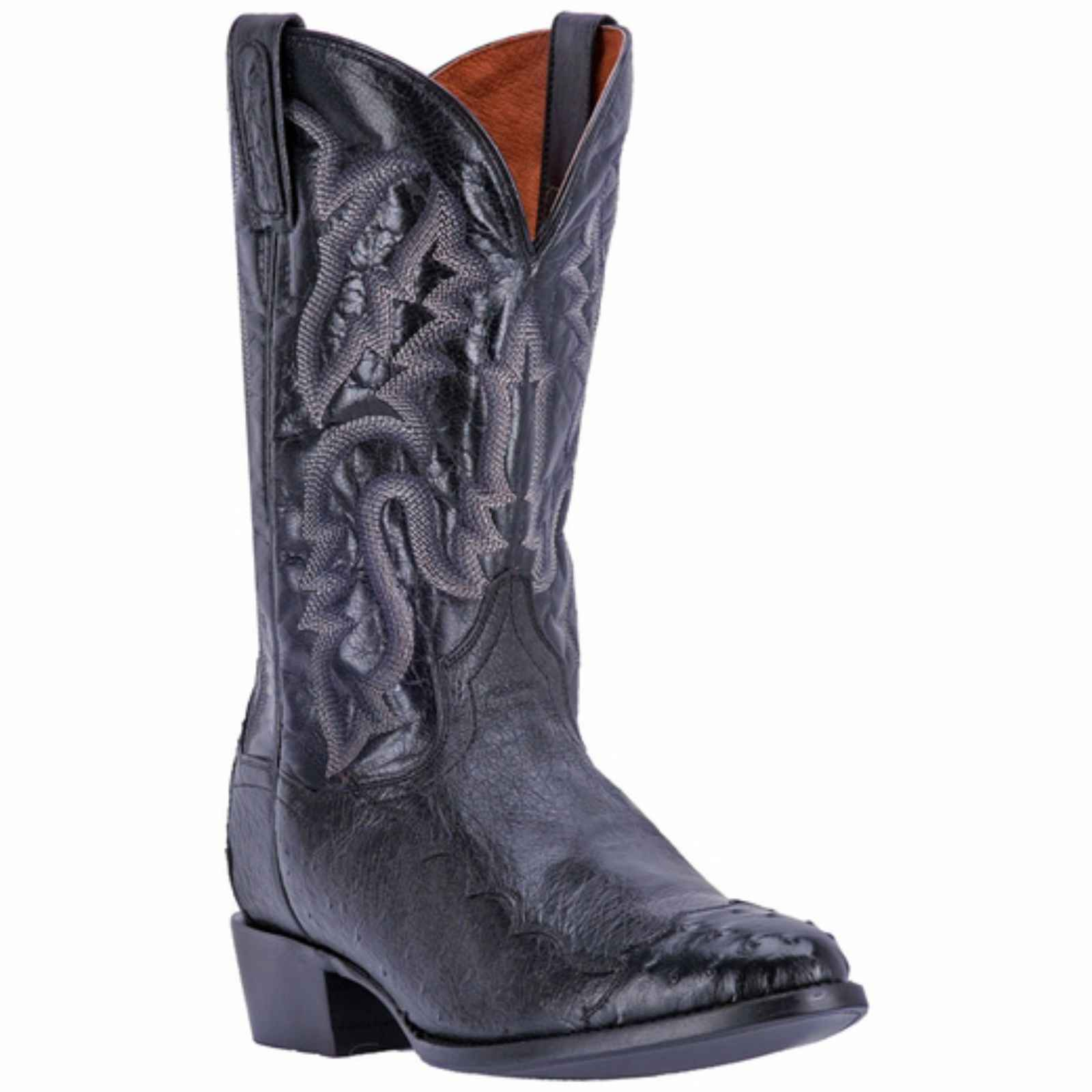 "Dan Post Men's 13"" Black Ostrich Senator Western Boot, DPP5203 by DAN POST"
