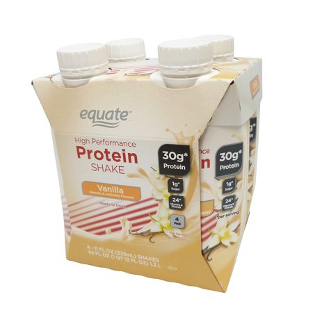 Equate High Performance Protein Shake, Vanilla, 30g Protein,11 fl oz, 4 Count