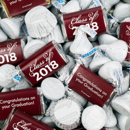 Maroon Graduation Candy Class of 2018 Mix Hershey's Miniatures, Kisses and Reese's Peanut Butter - Maroon Candy