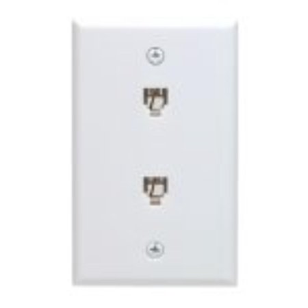 C0254-W Duplex Flush Mount Phone Jack Wall Plate, White, Duplex flush mount phone jack wall plate By Leviton