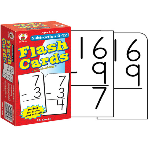 Subtraction 0-12 Flash Cards Grade 1-3