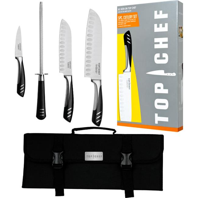 Top ChefT 5 Piece Stainless Steel Knife Set - Portable
