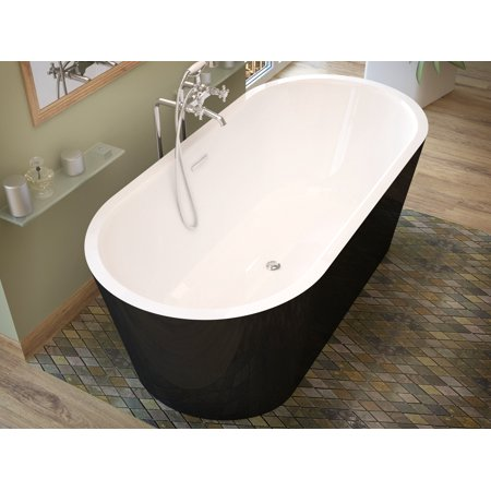 Tre 32 in. by 63 in. Freestanding One Piece Soaker Tub, Center Drain