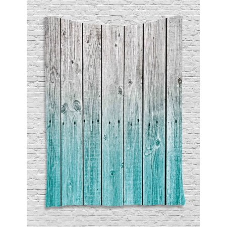 - Rustic Tapestry, Wood Panels Background with Digital Tones Effect Country House Art Image, Wall Hanging for Bedroom Living Room Dorm Decor, Pale Blue and Grey, by Ambesonne
