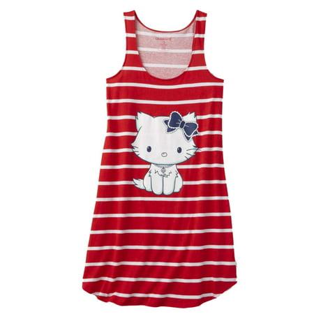 Hello Kitty Nightgown - Womens Red Stripe Hello Kitty Sleepshirt Kitten Cat Nightgown Sleep Shirt