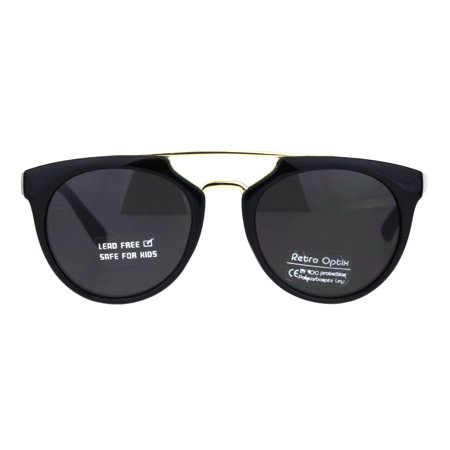 Kids Size Girls Flat Top Mod Retro Designer Fashion Plastic Sunglasses All Black